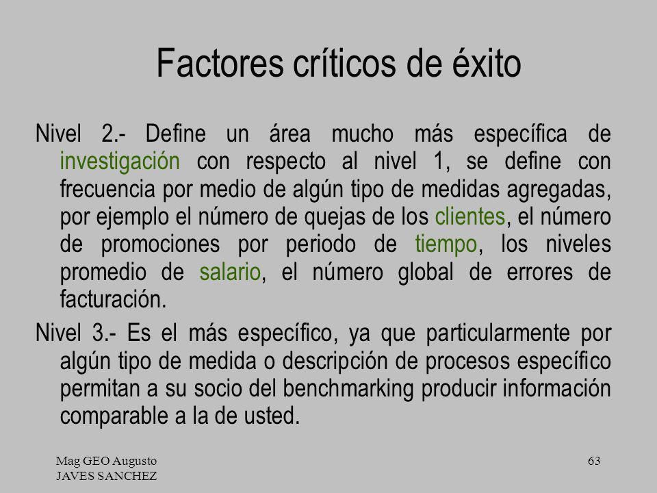 Mag GEO Augusto JAVES SANCHEZ 63 Factores críticos de éxito Nivel 2.- Define un área mucho más específica de investigación con respecto al nivel 1, se