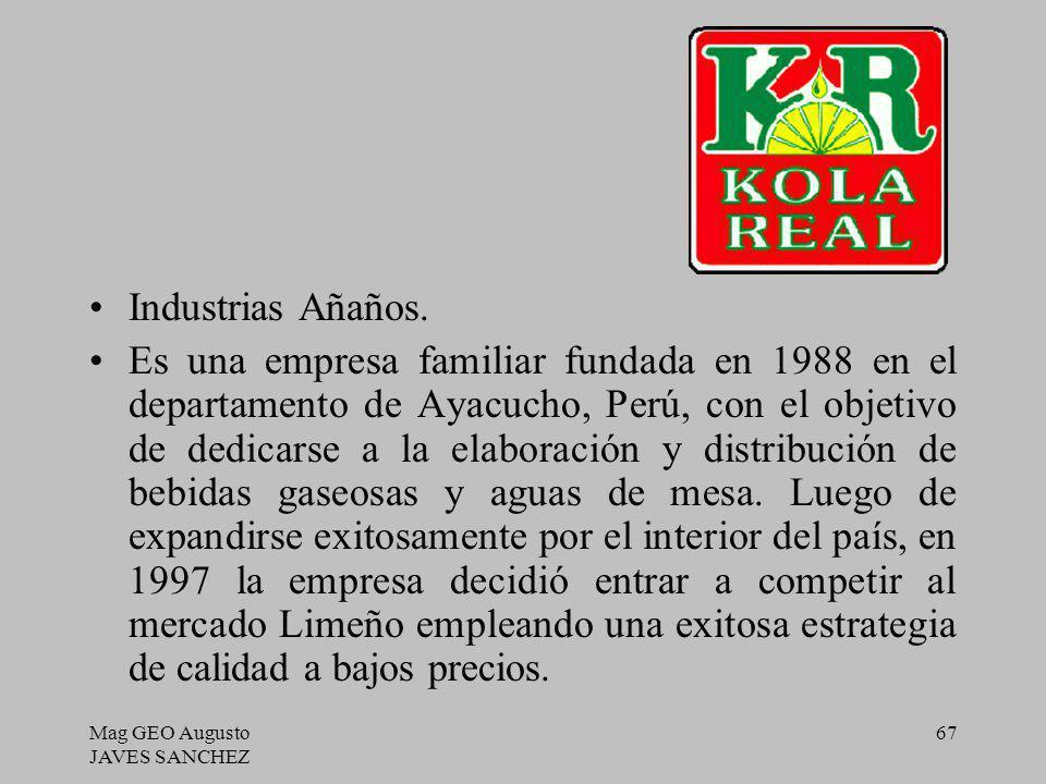Mag GEO Augusto JAVES SANCHEZ 67 Industrias Añaños. Es una empresa familiar fundada en 1988 en el departamento de Ayacucho, Perú, con el objetivo de d