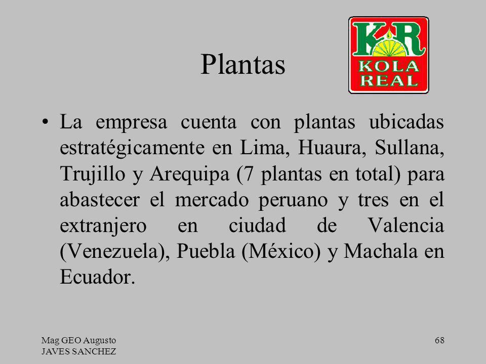 Mag GEO Augusto JAVES SANCHEZ 68 Plantas La empresa cuenta con plantas ubicadas estratégicamente en Lima, Huaura, Sullana, Trujillo y Arequipa (7 plan