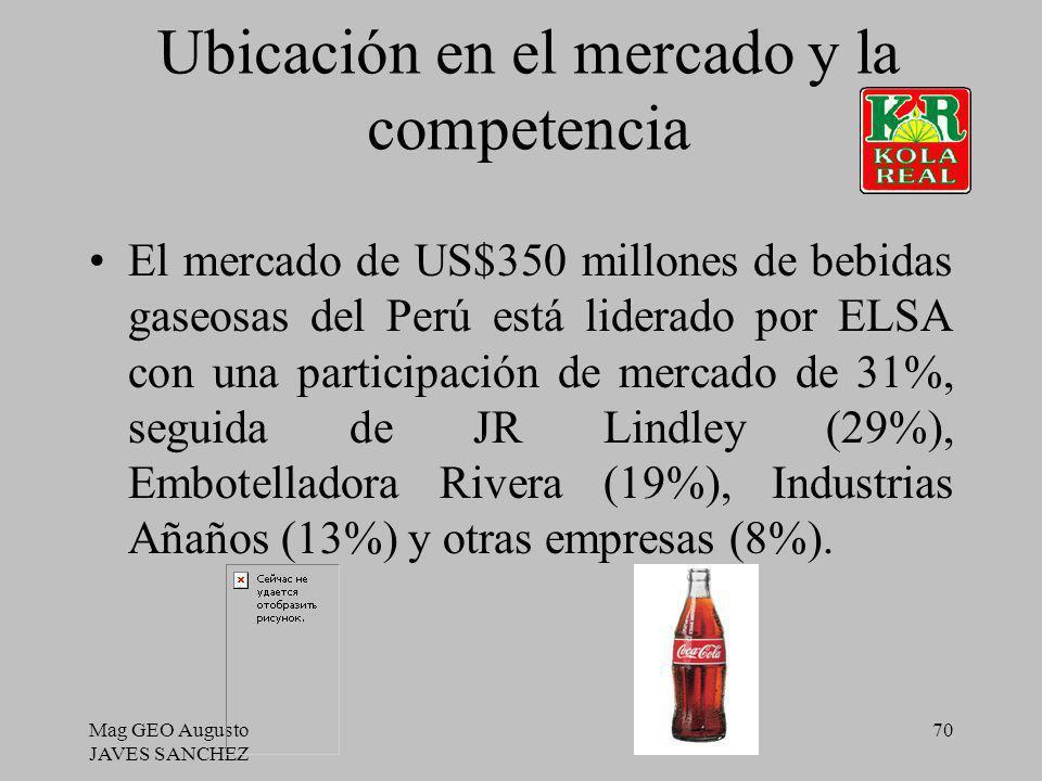 Mag GEO Augusto JAVES SANCHEZ 70 Ubicación en el mercado y la competencia El mercado de US$350 millones de bebidas gaseosas del Perú está liderado por
