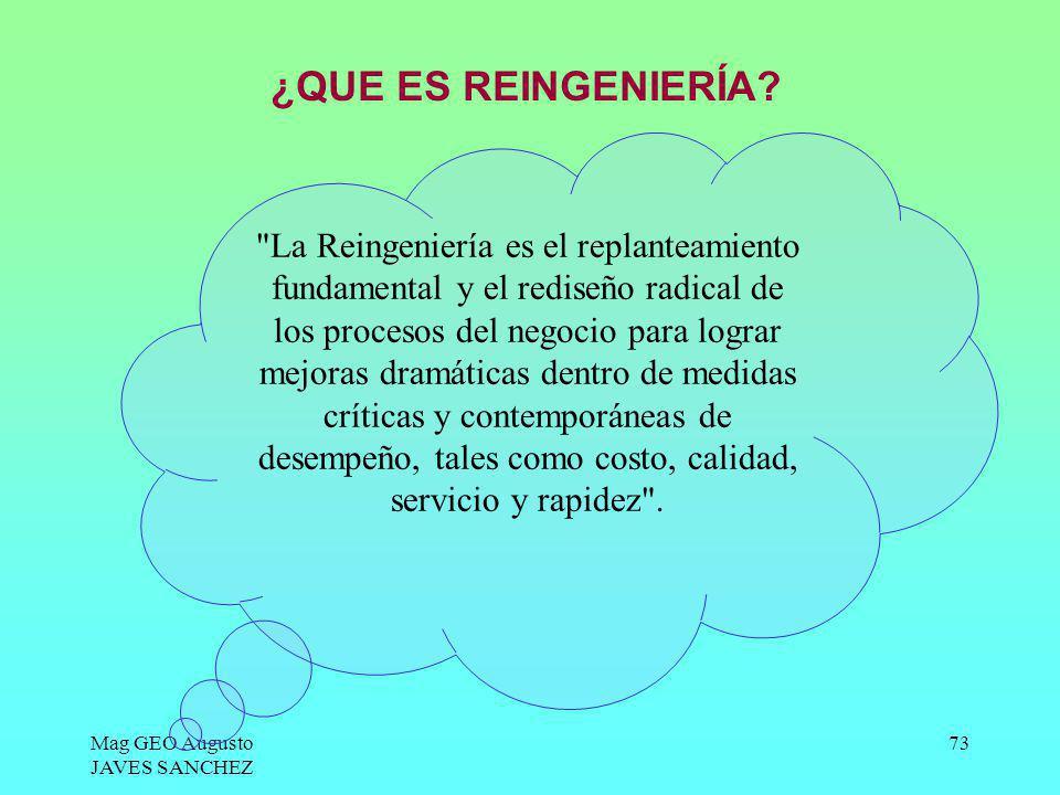 Mag GEO Augusto JAVES SANCHEZ 73 ¿QUE ES REINGENIERÍA?
