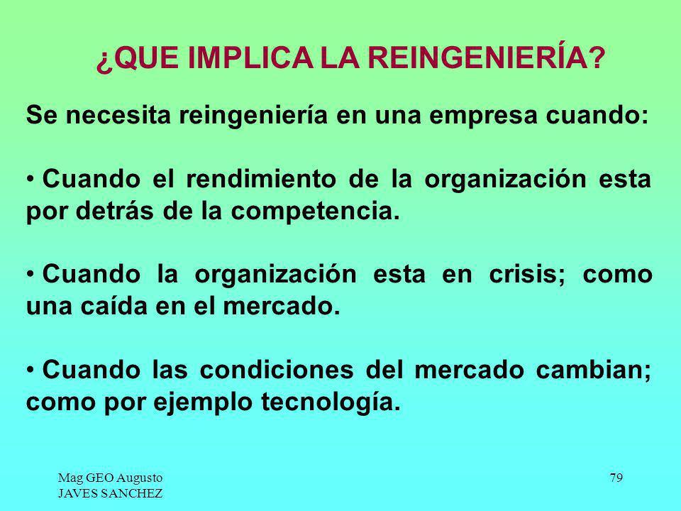 Mag GEO Augusto JAVES SANCHEZ 79 Se necesita reingeniería en una empresa cuando: Cuando el rendimiento de la organización esta por detrás de la compet