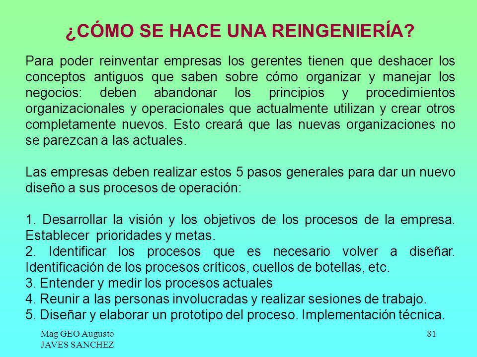 Mag GEO Augusto JAVES SANCHEZ 81 ¿CÓMO SE HACE UNA REINGENIERÍA? Para poder reinventar empresas los gerentes tienen que deshacer los conceptos antiguo