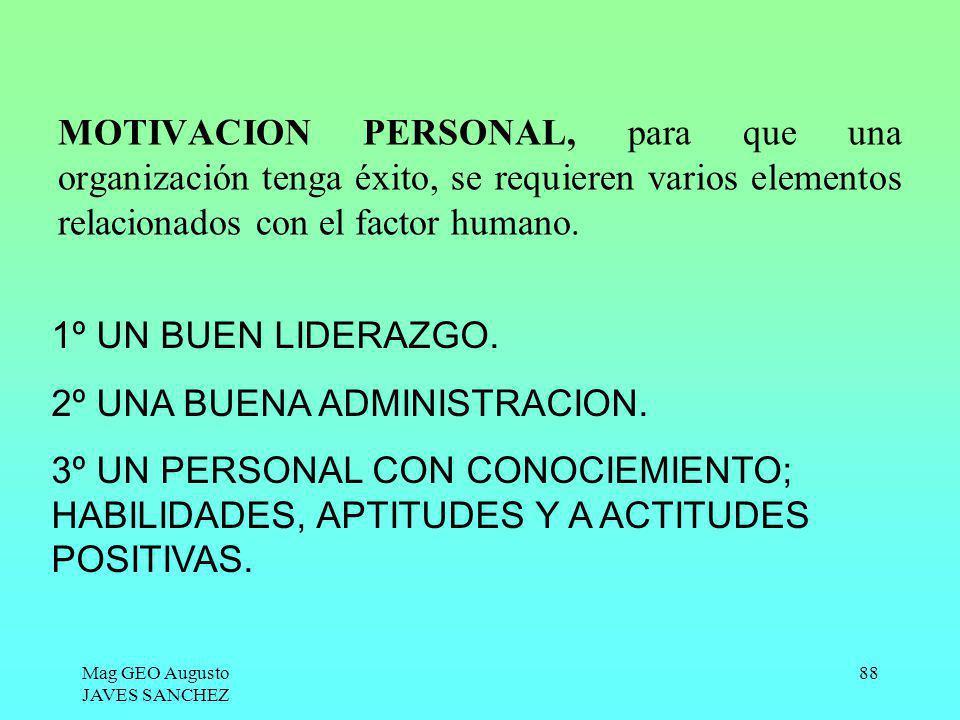 Mag GEO Augusto JAVES SANCHEZ 88 MOTIVACION PERSONAL, para que una organización tenga éxito, se requieren varios elementos relacionados con el factor