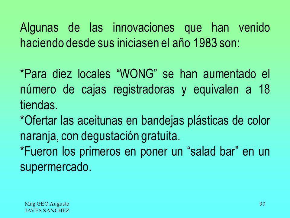 Mag GEO Augusto JAVES SANCHEZ 90 Algunas de las innovaciones que han venido haciendo desde sus iniciasen el año 1983 son: *Para diez locales WONG se h