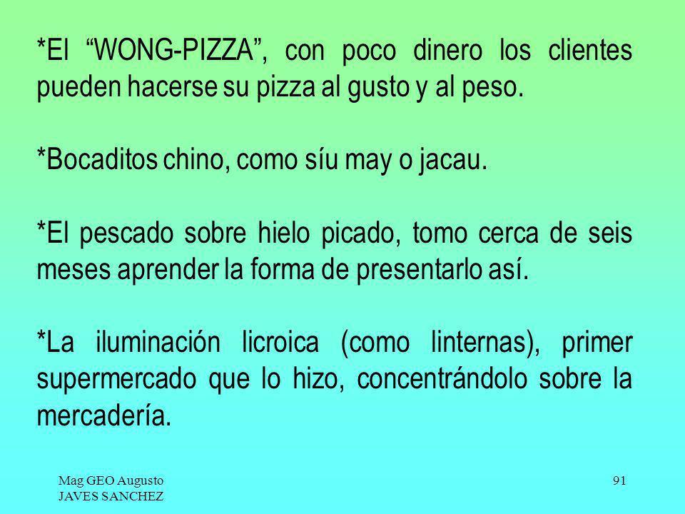 Mag GEO Augusto JAVES SANCHEZ 91 *El WONG-PIZZA, con poco dinero los clientes pueden hacerse su pizza al gusto y al peso. *Bocaditos chino, como síu m