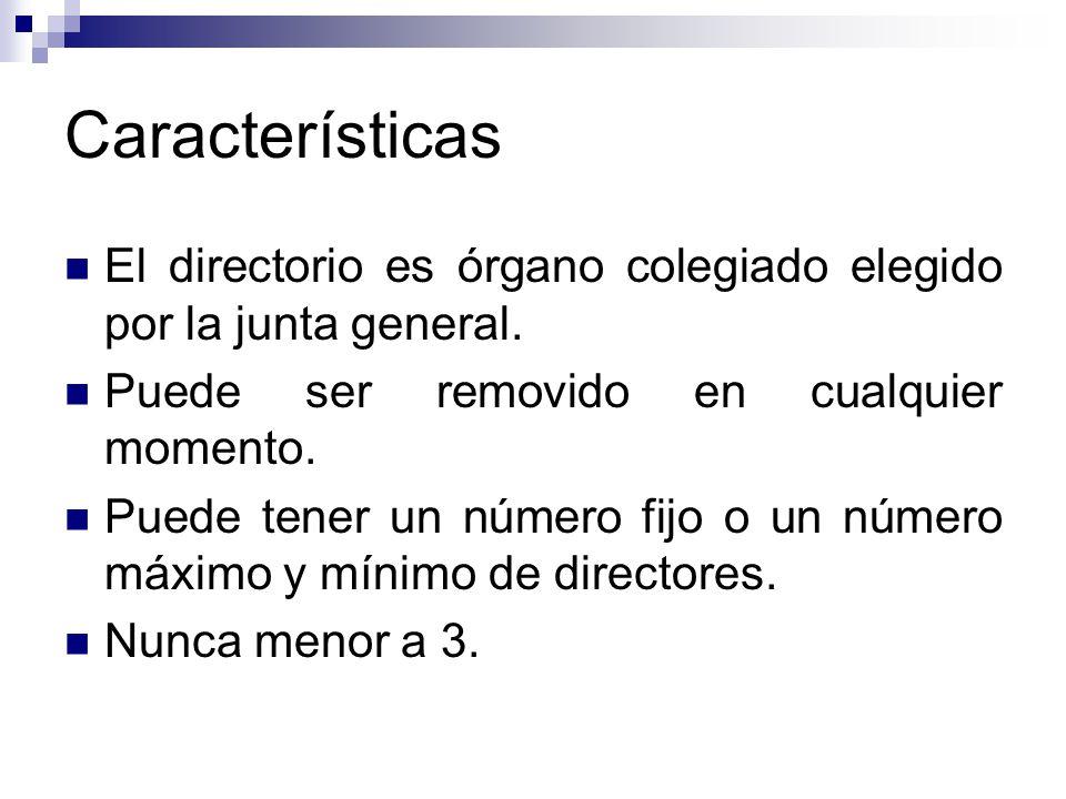 Características El directorio es órgano colegiado elegido por la junta general. Puede ser removido en cualquier momento. Puede tener un número fijo o