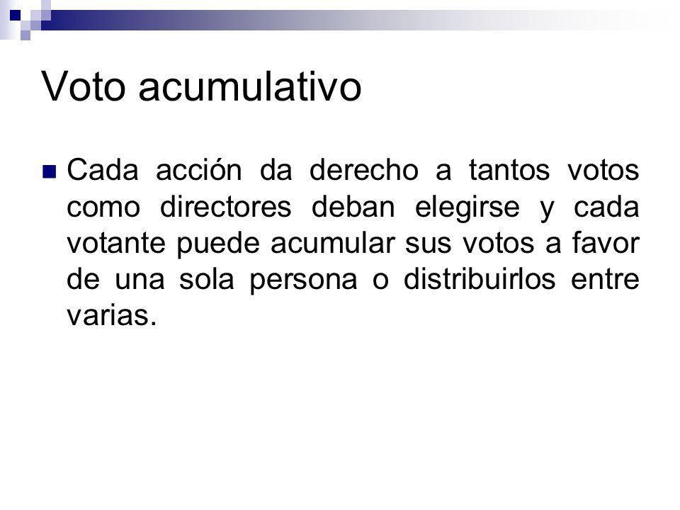 Voto acumulativo Cada acción da derecho a tantos votos como directores deban elegirse y cada votante puede acumular sus votos a favor de una sola pers