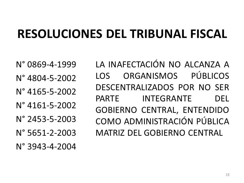 RESOLUCIONES DEL TRIBUNAL FISCAL N° 0869-4-1999 N° 4804-5-2002 N° 4165-5-2002 N° 4161-5-2002 N° 2453-5-2003 N° 5651-2-2003 N° 3943-4-2004 LA INAFECTAC