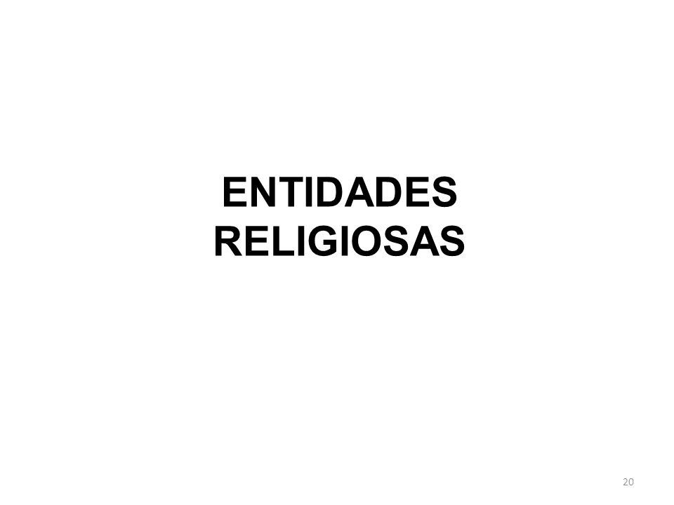 20 ENTIDADES RELIGIOSAS
