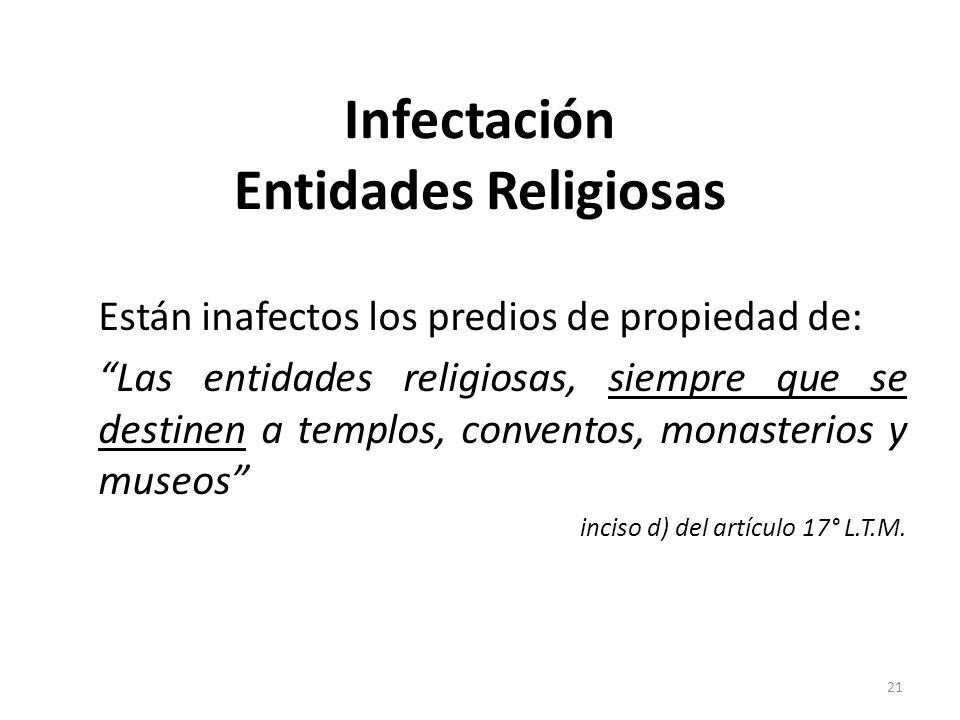 Infectación Entidades Religiosas Están inafectos los predios de propiedad de: Las entidades religiosas, siempre que se destinen a templos, conventos,