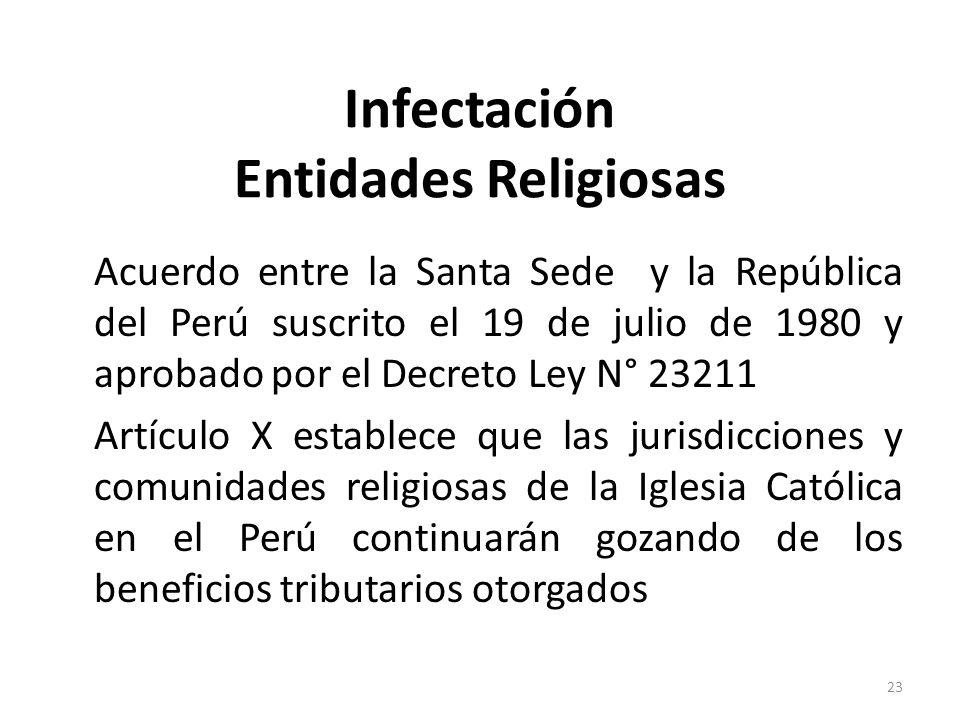 Infectación Entidades Religiosas Acuerdo entre la Santa Sede y la República del Perú suscrito el 19 de julio de 1980 y aprobado por el Decreto Ley N°