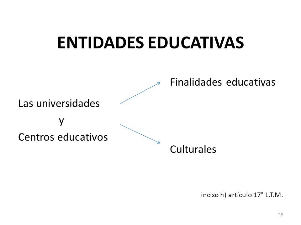 ENTIDADES EDUCATIVAS Las universidades y Centros educativos Finalidades educativas Culturales inciso h) artículo 17° L.T.M. 28