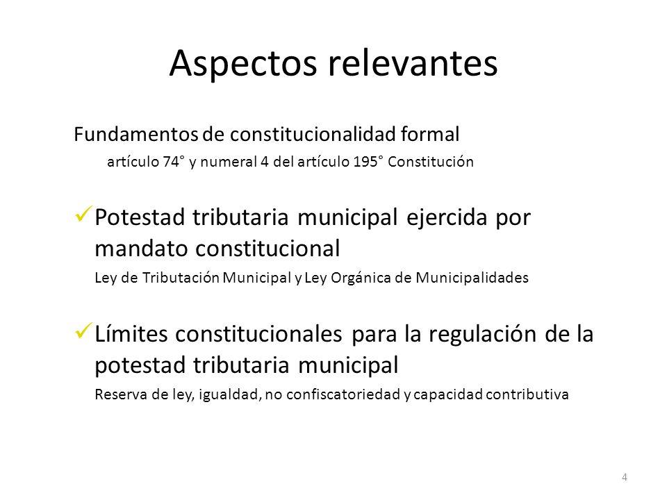 Aspectos relevantes Fundamentos de constitucionalidad formal artículo 74° y numeral 4 del artículo 195° Constitución Potestad tributaria municipal eje