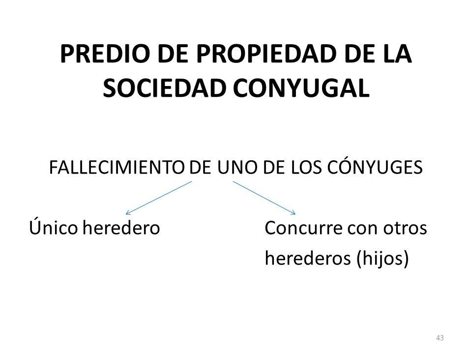 PREDIO DE PROPIEDAD DE LA SOCIEDAD CONYUGAL FALLECIMIENTO DE UNO DE LOS CÓNYUGES Único herederoConcurre con otros herederos (hijos) 43