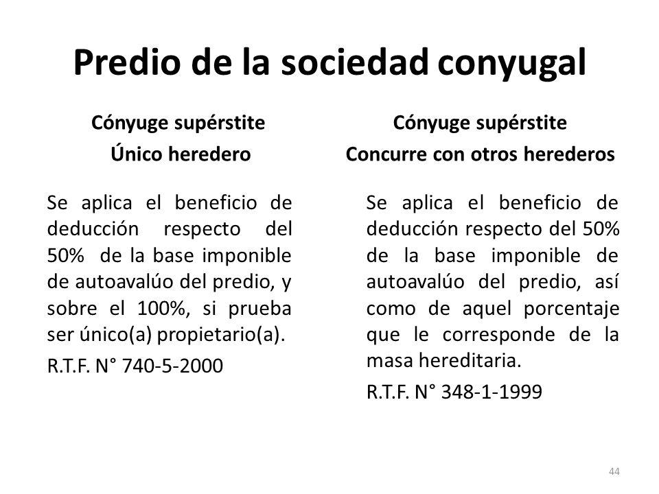 Predio de la sociedad conyugal Cónyuge supérstite Único heredero Se aplica el beneficio de deducción respecto del 50% de la base imponible de autoaval