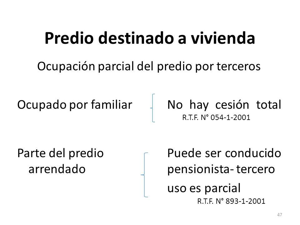 Predio destinado a vivienda Ocupación parcial del predio por terceros Ocupado por familiarNo hay cesión total R.T.F. N° 054-1-2001 Parte del predio Pu