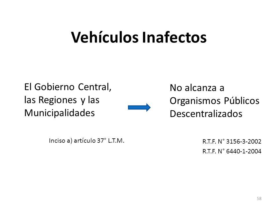 Vehículos Inafectos El Gobierno Central, las Regiones y las Municipalidades Inciso a) artículo 37° L.T.M. No alcanza a Organismos Públicos Descentrali