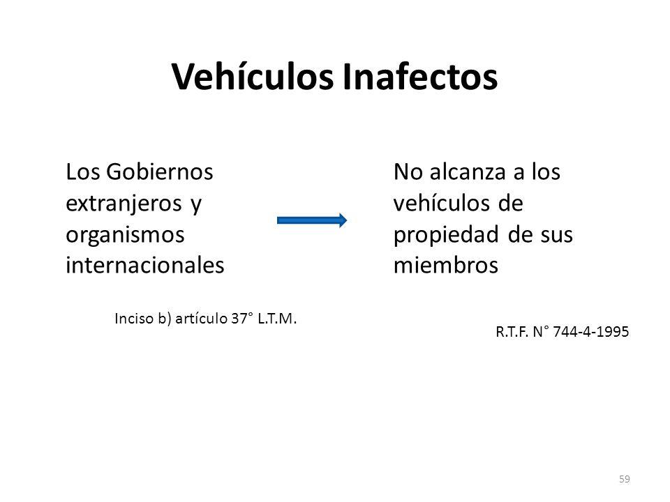 Vehículos Inafectos Los Gobiernos extranjeros y organismos internacionales Inciso b) artículo 37° L.T.M. No alcanza a los vehículos de propiedad de su
