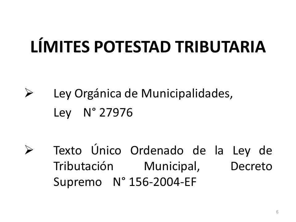 LÍMITES POTESTAD TRIBUTARIA Ley Orgánica de Municipalidades, Ley N° 27976 Texto Único Ordenado de la Ley de Tributación Municipal, Decreto Supremo N°