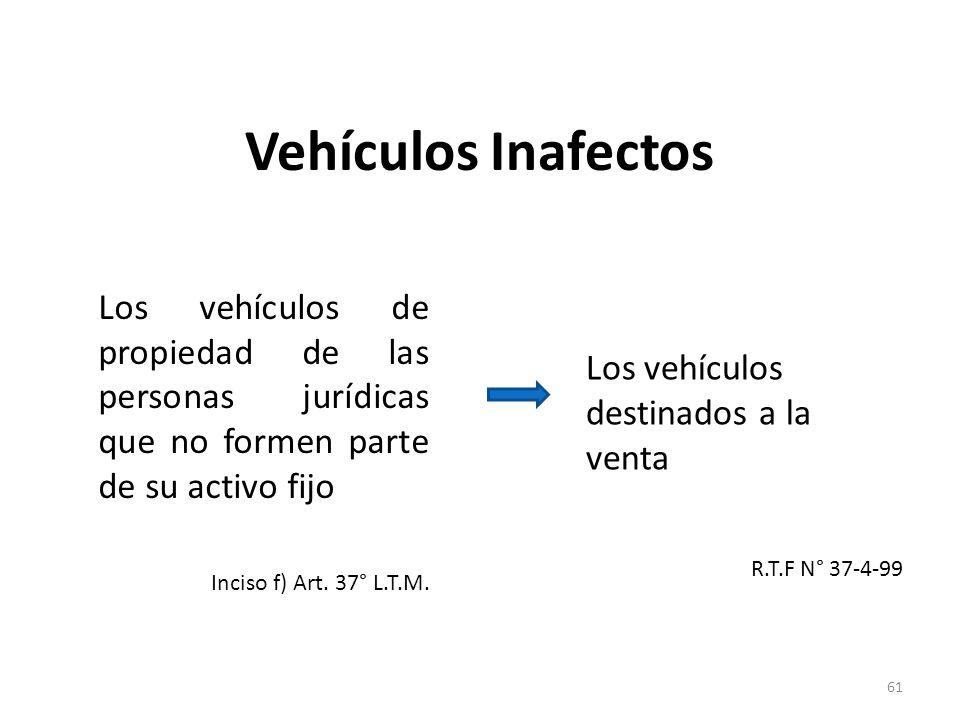 Vehículos Inafectos Los vehículos de propiedad de las personas jurídicas que no formen parte de su activo fijo Inciso f) Art. 37° L.T.M. Los vehículos