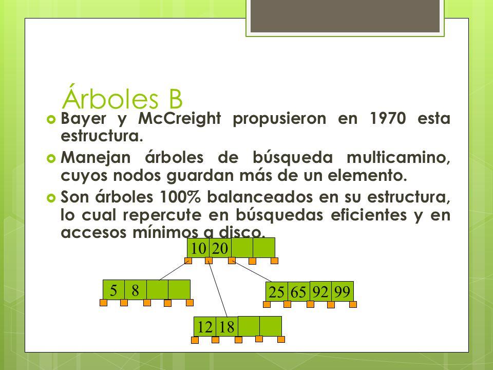 Árboles B Bayer y McCreight propusieron en 1970 esta estructura. Manejan árboles de búsqueda multicamino, cuyos nodos guardan más de un elemento. Son