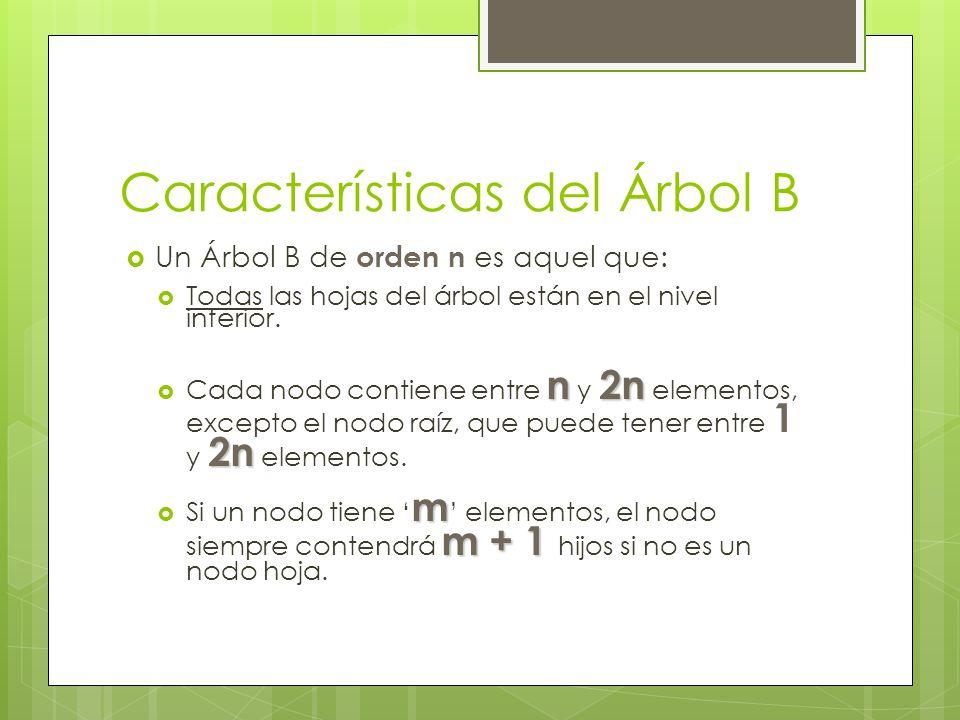 Características del Árbol B Un Árbol B de orden n es aquel que: Todas las hojas del árbol están en el nivel inferior. n2n 2n Cada nodo contiene entre