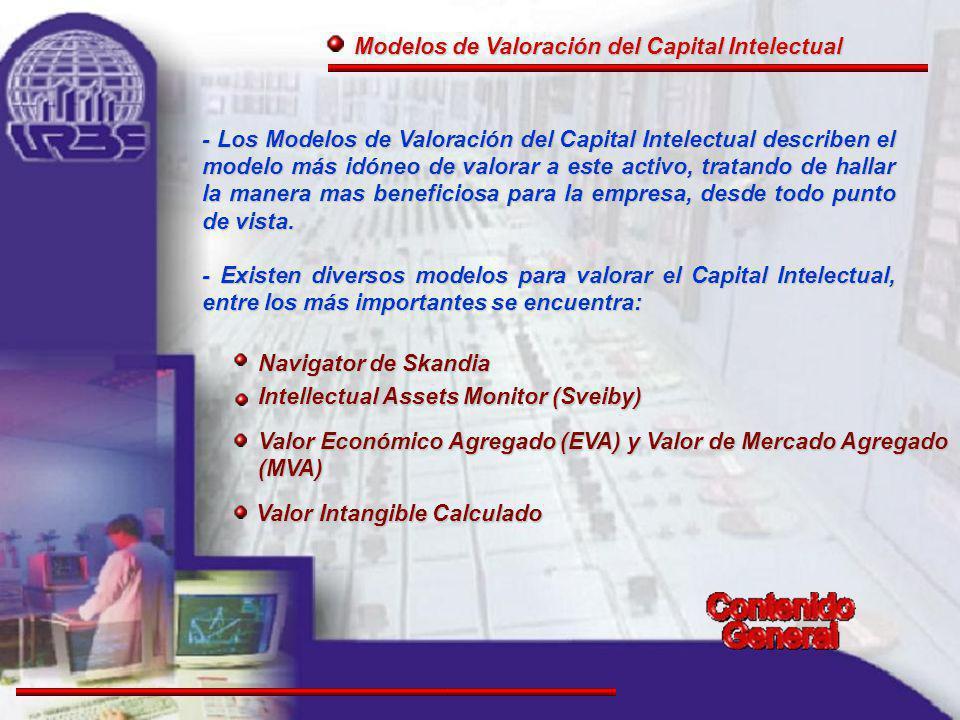 Modelos de Valoración del Capital Intelectual Modelos de Valoración del Capital Intelectual Valor Intangible Calculado Valor Intangible Calculado Navigator de Skandia Navigator de Skandia Intellectual Assets Monitor (Sveiby) Intellectual Assets Monitor (Sveiby) Valor Económico Agregado (EVA) y Valor de Mercado Agregado (MVA) Valor Económico Agregado (EVA) y Valor de Mercado Agregado (MVA) - Los Modelos de Valoración del Capital Intelectual describen el modelo más idóneo de valorar a este activo, tratando de hallar la manera mas beneficiosa para la empresa, desde todo punto de vista.