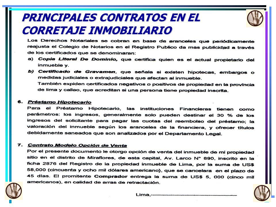 PRINCIPALES CONTRATOS EN EL CORRETAJE INMOBILIARIO