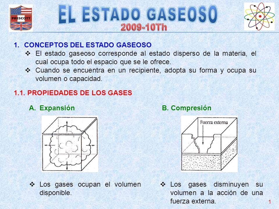 1.CONCEPTOS DEL ESTADO GASEOSO El estado gaseoso corresponde al estado disperso de la materia, el cual ocupa todo el espacio que se le ofrece. Cuando