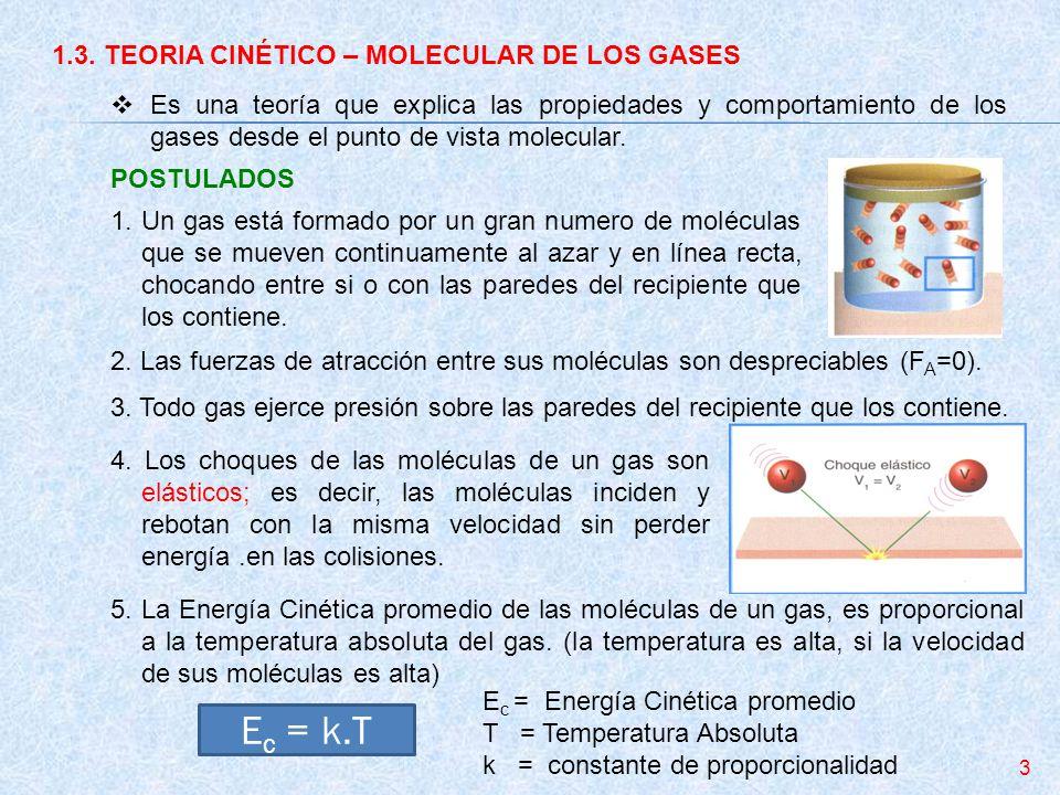 1.3. TEORIA CINÉTICO – MOLECULAR DE LOS GASES Es una teoría que explica las propiedades y comportamiento de los gases desde el punto de vista molecula