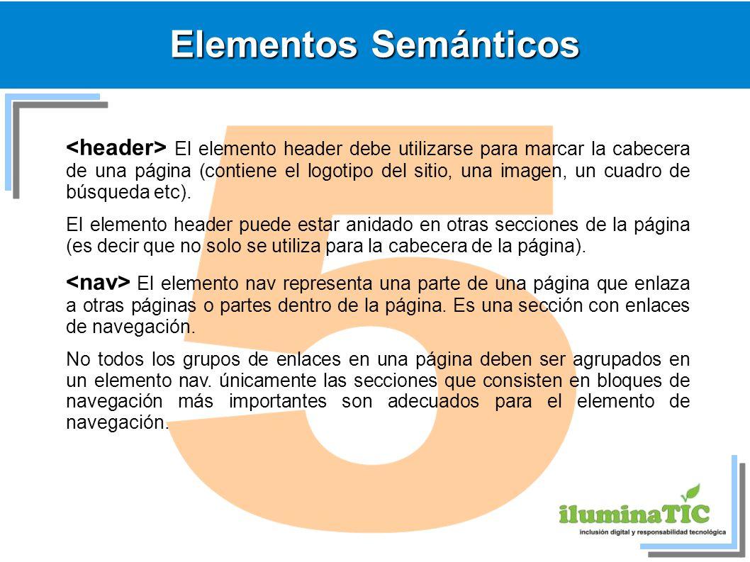 Elementos Semánticos El elemento header debe utilizarse para marcar la cabecera de una página (contiene el logotipo del sitio, una imagen, un cuadro d