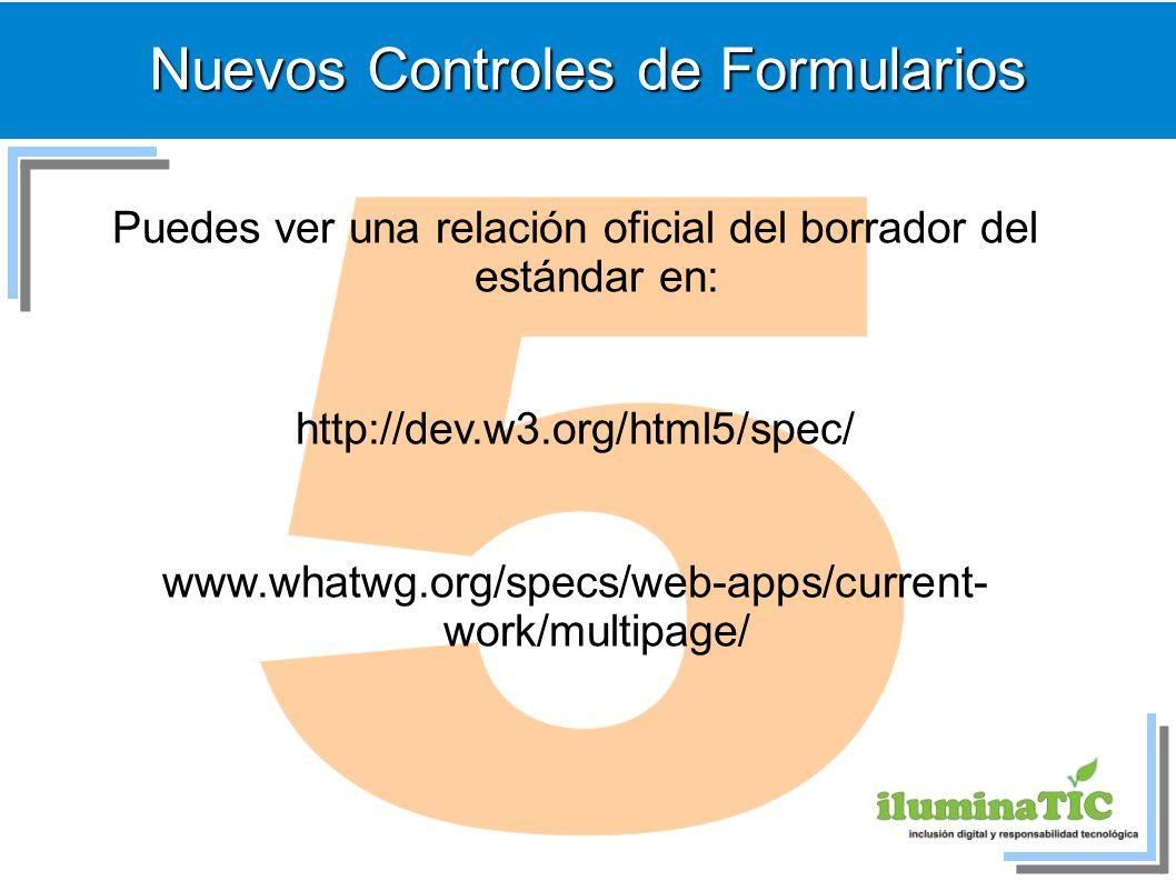 Nuevos Controles de Formularios Puedes ver una relación oficial del borrador del estándar en: http://dev.w3.org/html5/spec/ www.whatwg.org/specs/web-a