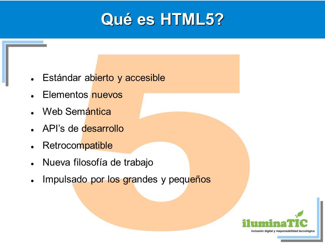 Qué es HTML5? Estándar abierto y accesible Elementos nuevos Web Semántica APIs de desarrollo Retrocompatible Nueva filosofía de trabajo Impulsado por