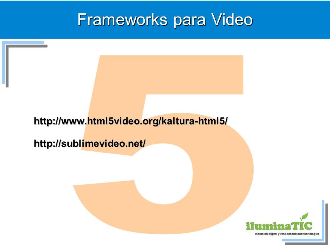 Frameworks para Video http://www.html5video.org/kaltura-html5/http://sublimevideo.net/