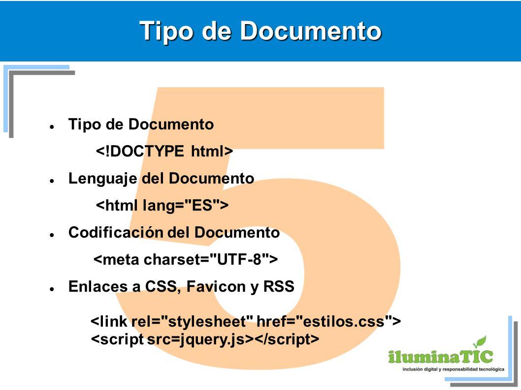 Tipo de Documento Lenguaje del Documento Codificación del Documento Enlaces a CSS, Favicon y RSS