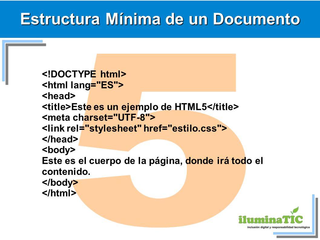 Estructura Mínima de un Documento Este es un ejemplo de HTML5 Este es el cuerpo de la página, donde irá todo el contenido.