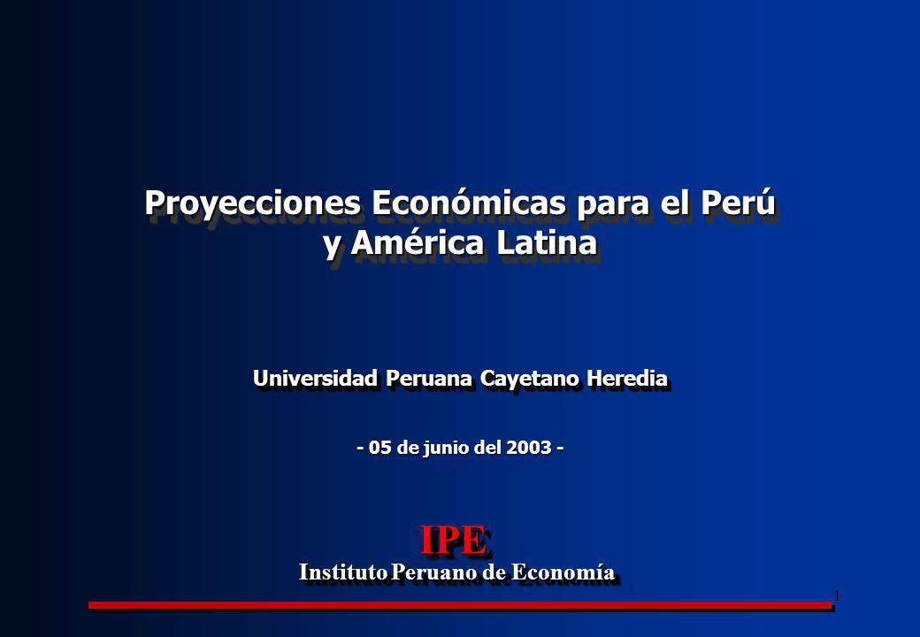 2 Flujos de capitales hacia América Latina (AL) comenzaron a caer desde la crisis asiática y rusa Proyecciones Económicas para el Perú y América Latina Flujo neto de capitales hacia AL, 1994-2003 (proyecciones FMI, miles millones de US$) Fuente: BID