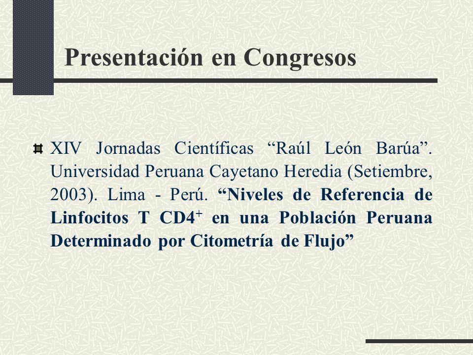 Presentación en Congresos XIV Jornadas Científicas Raúl León Barúa. Universidad Peruana Cayetano Heredia (Setiembre, 2003). Lima - Perú. Niveles de Re