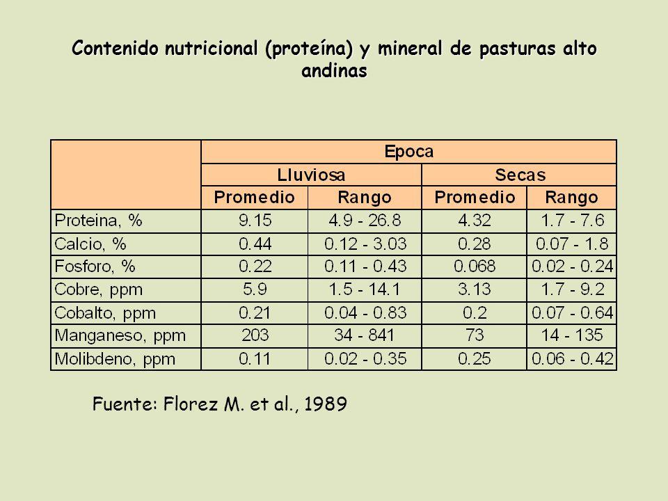 Contenido nutricional (proteína) y mineral de pasturas alto andinas Fuente: Florez M. et al., 1989