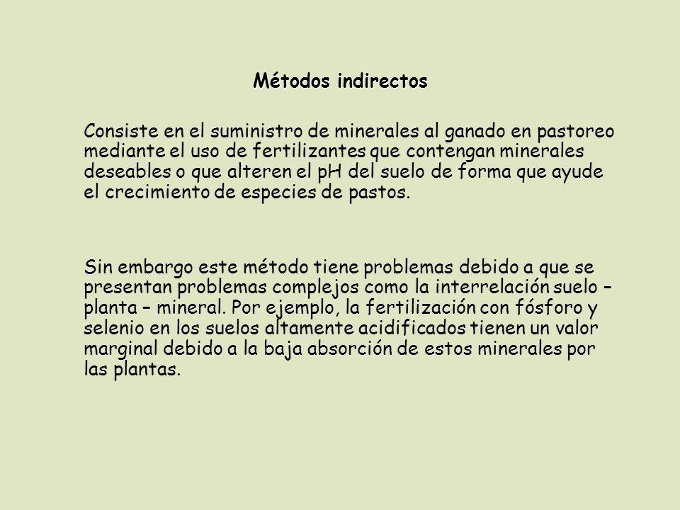 Métodos indirectos Consiste en el suministro de minerales al ganado en pastoreo mediante el uso de fertilizantes que contengan minerales deseables o q
