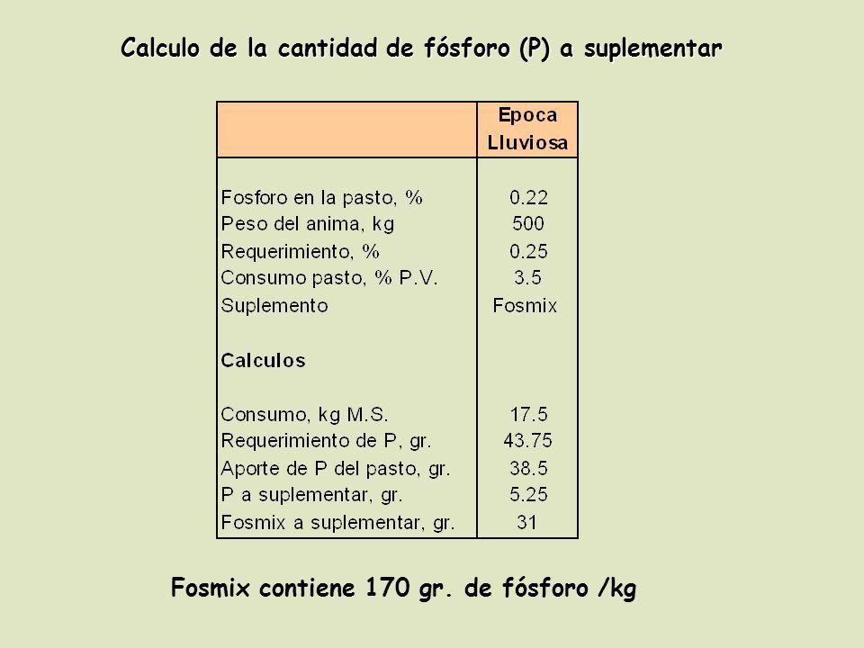 Calculo de la cantidad de fósforo (P) a suplementar Fosmix contiene 170 gr. de fósforo /kg