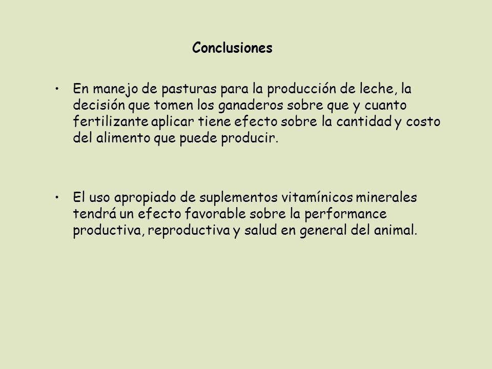 En manejo de pasturas para la producción de leche, la decisión que tomen los ganaderos sobre que y cuanto fertilizante aplicar tiene efecto sobre la c