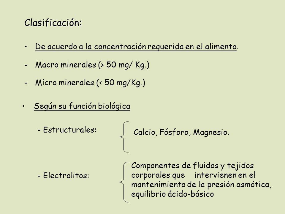 Clasificación: De acuerdo a la concentración requerida en el alimento. -Macro minerales (> 50 mg/ Kg.) -Micro minerales (< 50 mg/Kg.) - Estructurales: