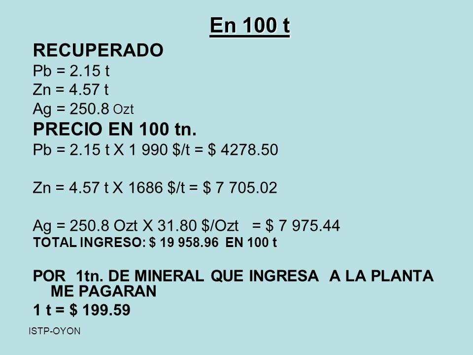 ISTP-OYON RECUPERADO Pb = 2.15 t Zn = 4.57 t Ag = 250.8 Ozt PRECIO EN 100 tn.