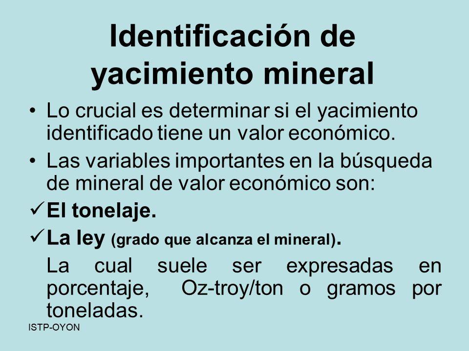 Identificación de yacimiento mineral Lo crucial es determinar si el yacimiento identificado tiene un valor económico.