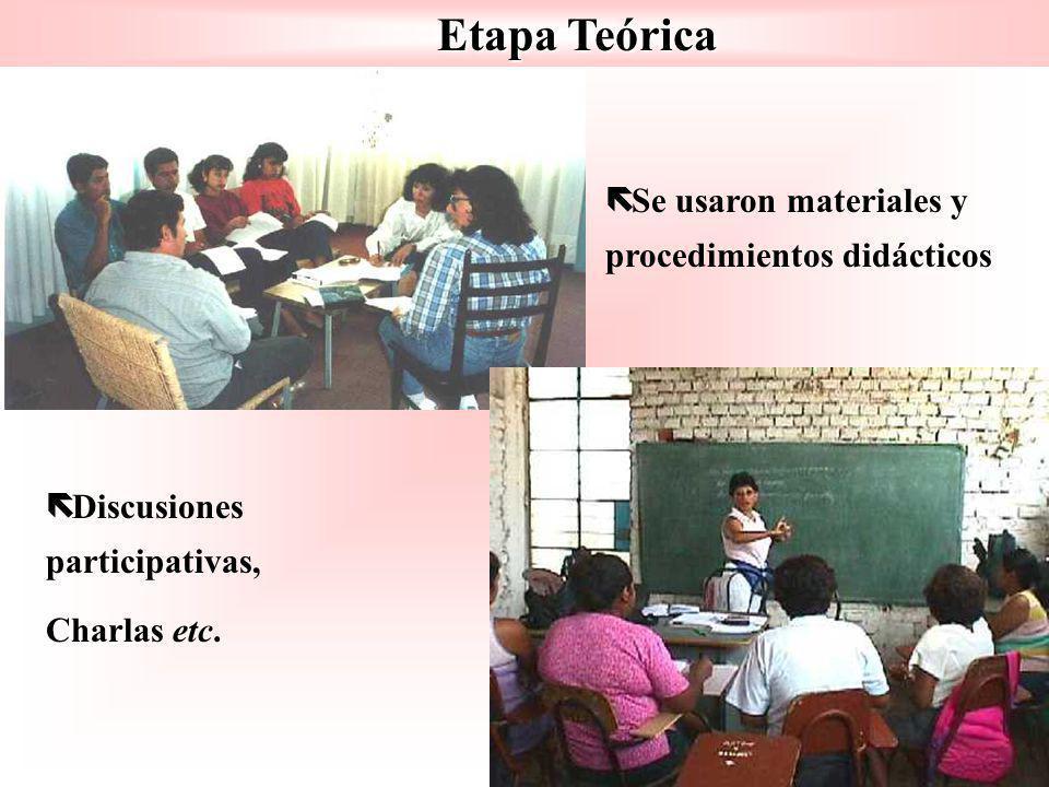 Etapa Teórica ë ë Se usaron materiales y procedimientos didácticos ë ë Discusiones participativas, Charlas etc.