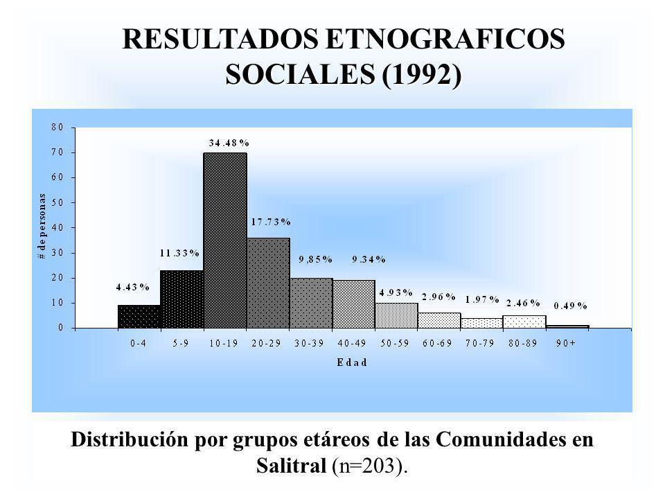 RESULTADOS ETNOGRAFICOS SOCIALES (1992) Distribución por grupos etáreos de las Comunidades en Salitral (n=203).
