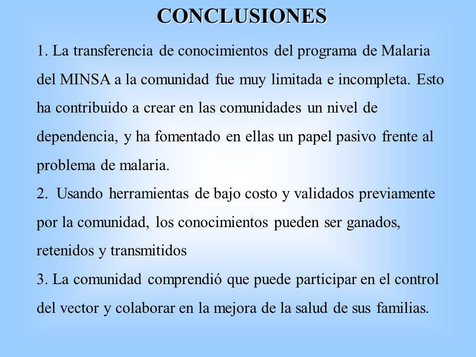 CONCLUSIONES 1. La transferencia de conocimientos del programa de Malaria del MINSA a la comunidad fue muy limitada e incompleta. Esto ha contribuido