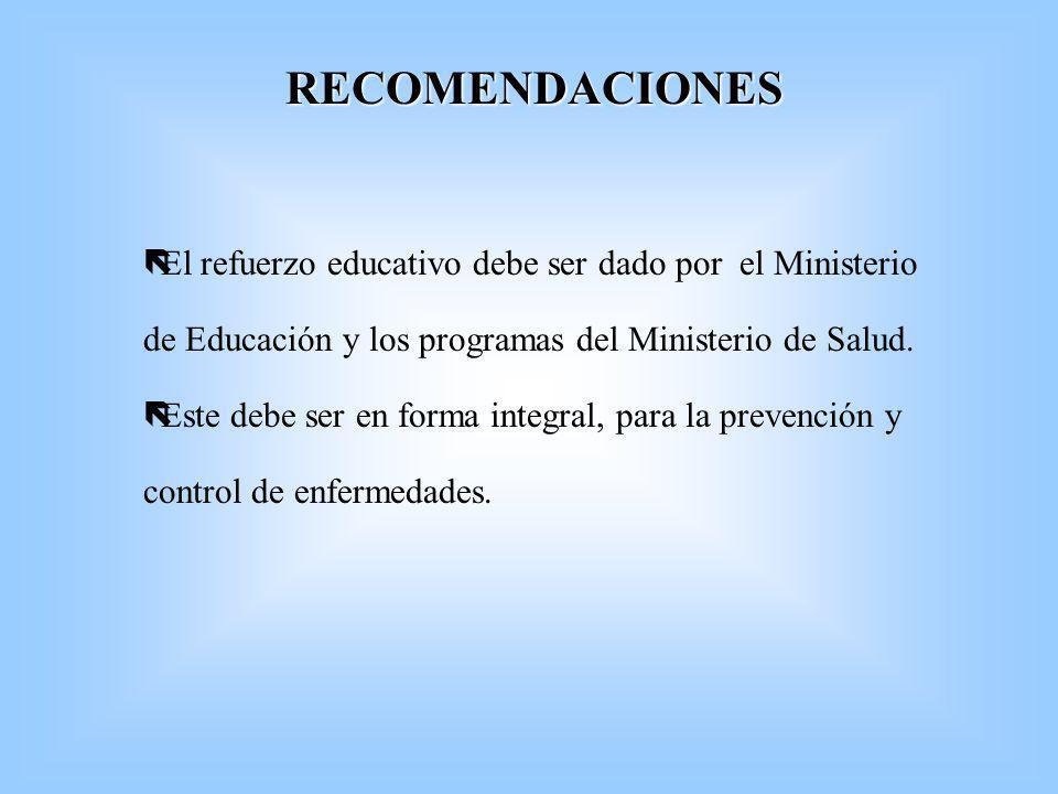 RECOMENDACIONES ë ëEl refuerzo educativo debe ser dado por el Ministerio de Educación y los programas del Ministerio de Salud. ë ëEste debe ser en for